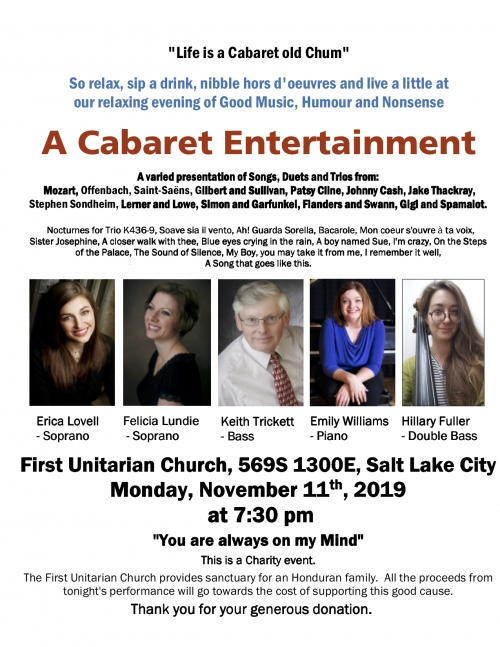 """Life is a Cabaret old Chum"" Keith Trickett Concert November 11, 2019"